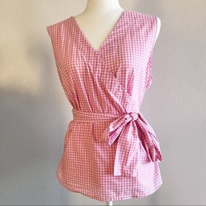 BeachLunchLounge Pink Gingham Self Tie Blouse